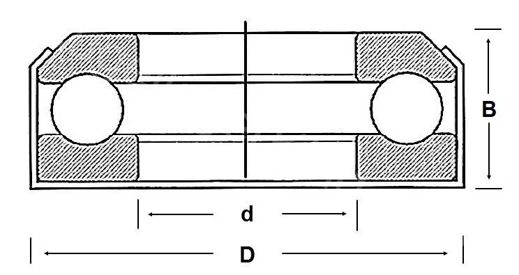 Technische Zeichnung Axial-Rillenkugellager geschlossen KT 7