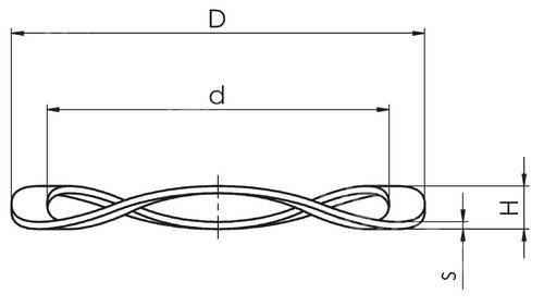 Technische Zeichnung Wellfederscheiben FS 2x3.5 S0.08