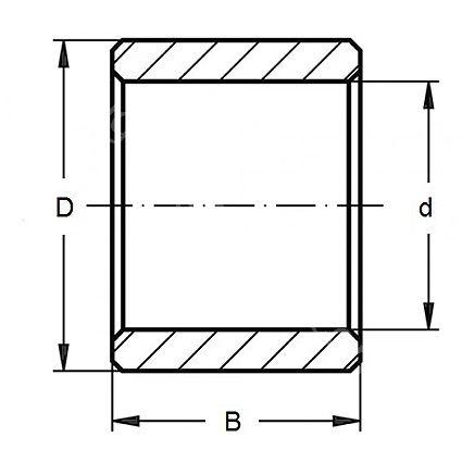 Technische Zeichnung Gleitlagerbüchsen Sinterbronze GB 2x4x6