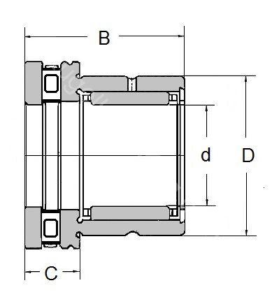 Technische Zeichnung Nadellager kombiniert NKXR 15 Z