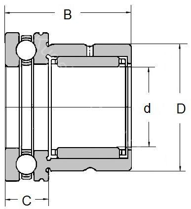 Technische Zeichnung Nadellager kombiniert NKX 10 Z